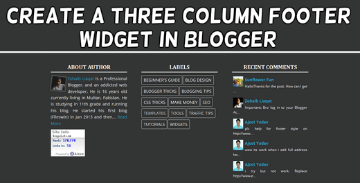 How to Create a Three Column Footer Widget in Blogger