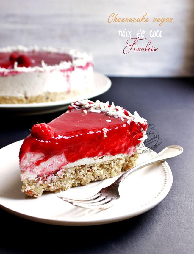 Cheesecake noix de coco et framboise v g talien cru sans gluten sans lactose il tait une - Dessert vegan sans gluten ...