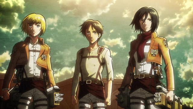 Armin, Eren i Mikasa z Attack on Titan