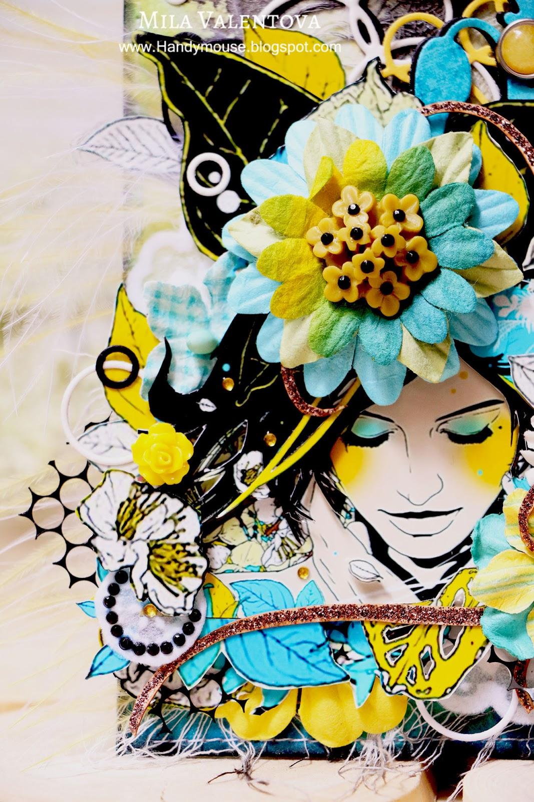 ТЭГ с фоном при помощи спреев и принтом японского художника. Мила Валентова.