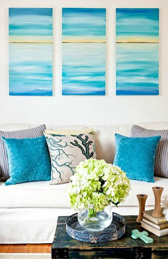 DIY Ocean Triptych Tutorial by Tara Dennis