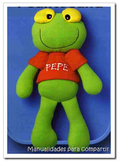 Como hacer Sapo Pepe de tela. Muñeco del Sapo Pepe con moldes