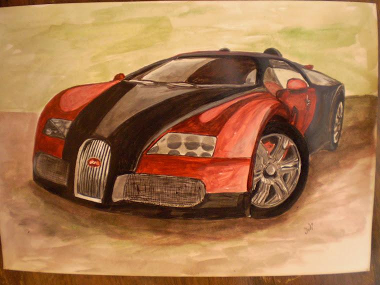 Bugatti veyron, acrylic, hand painted, signed Joli, A4