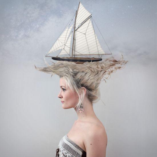 Ulric Collette fotografia surreal photoshop Navegando nos cabelos