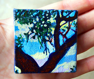 Miniature tree painting in acrylic ink by Jeanne Hospod