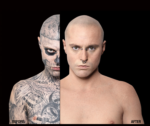 American times online zombie boy goes beyond the cover for Dermablend tattoo cover up video