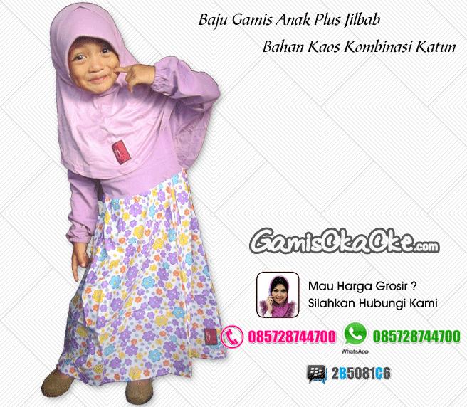 Baju Muslim Anak Perempuan Bahan Kaos Baju Gamis