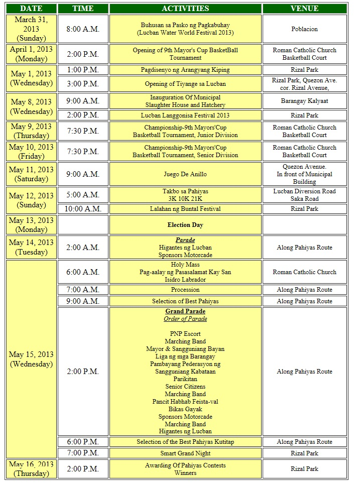 Pahiyas 2013 Calendar of Events Lucban, Quezon