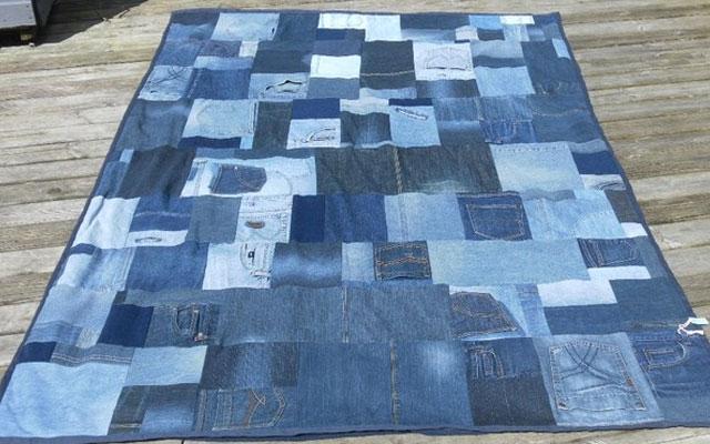 Пляжный коврик сшить из старых джинсов 37