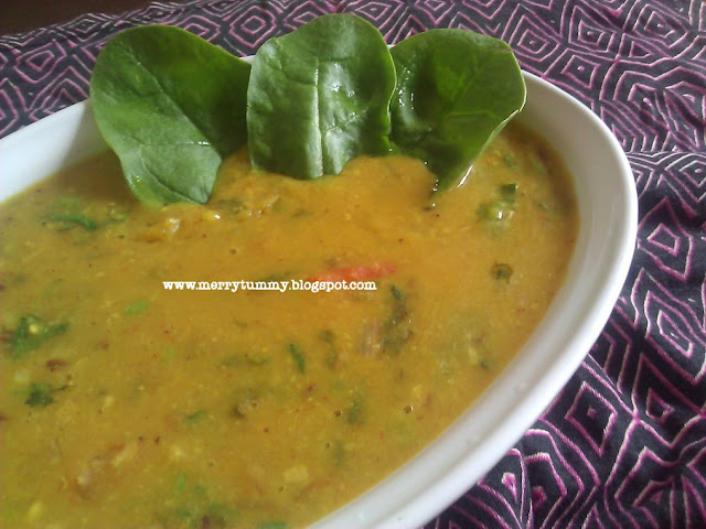 Merry Tummy: Spinach Yellow Daal/ Palak Daal