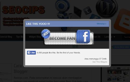 FansPage FB Dengan Timer Di Blog