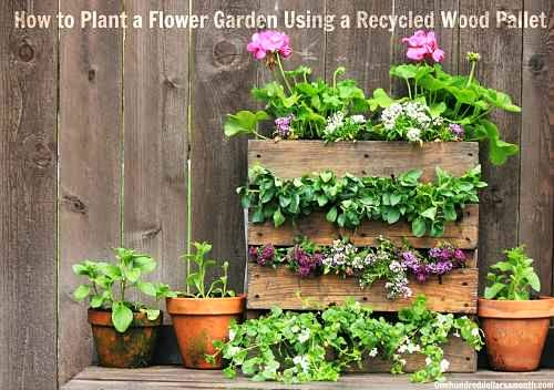 Pallet Planter Garden - The Lazy DIY'er - Pallet Furniture Round-up - Chamomile and Peppermint Blog