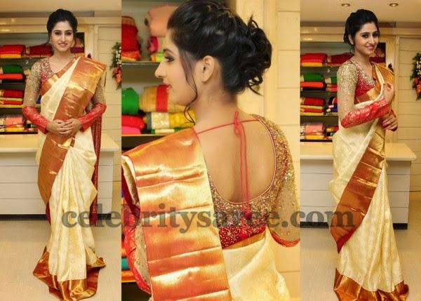 Shamili In Full Sleeves Shimmer Blouse Saree Patterns