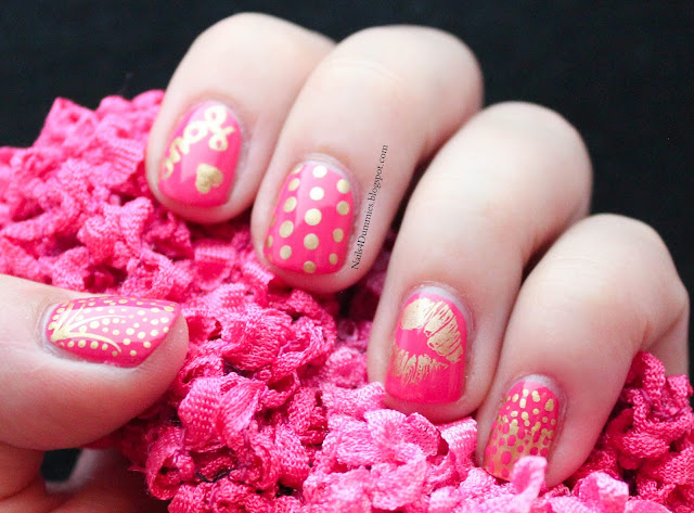 Nails4Dummies - Pink and Gold Love Nails