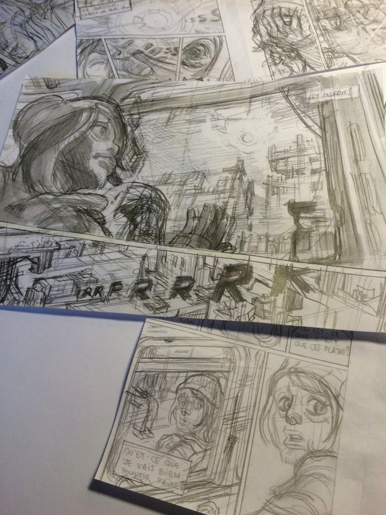 Après l'écriture du scénario ( 2-3 versions remaniées ) storyboard