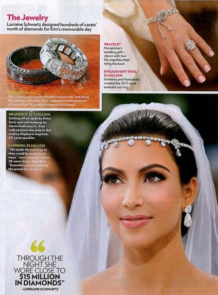 As alianças de jóias de Kim Kardashian no seu casamento