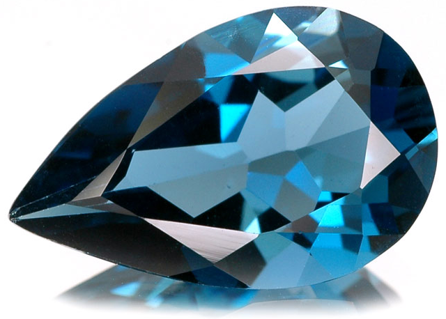 London blue topaz (topaz biru tua pekat)