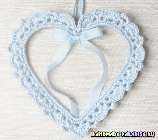 Вязаные крючком подвески - сердечки