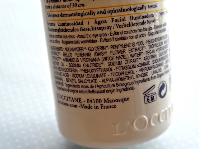 L'Occitane Immortelle Brightening Face Mist Ingredients