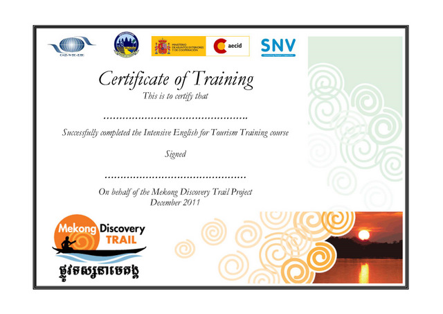 Sample certificate english language image collections mike haynes consulting the mekong discovery trail public i developed a comprehensive training programme aimed at yelopaper