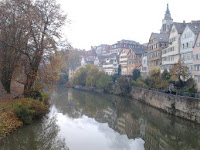 Tübingen, river Neckar, with Hölderlinturm in the background