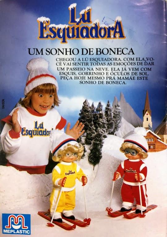 Propaganda da boneca Lu Esquiadora em 1989.