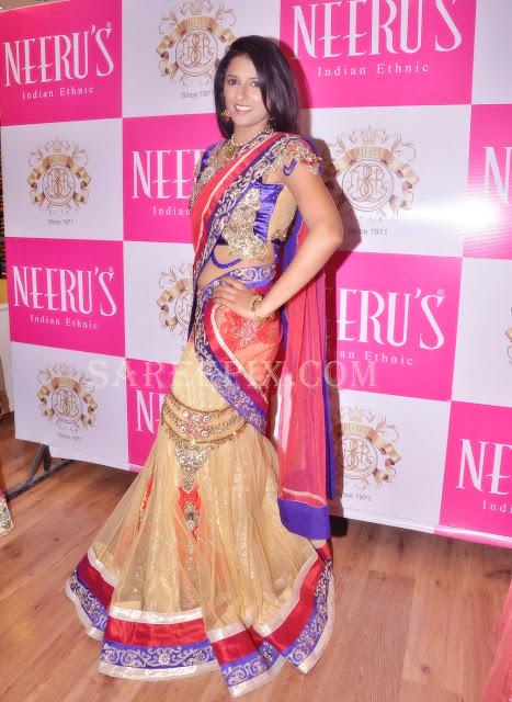 Shravya-reddy-front-designer-lehenga-style-half-saree