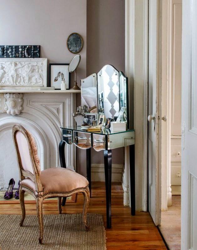 Decoracion vintage tocador femenino espejo antiguo