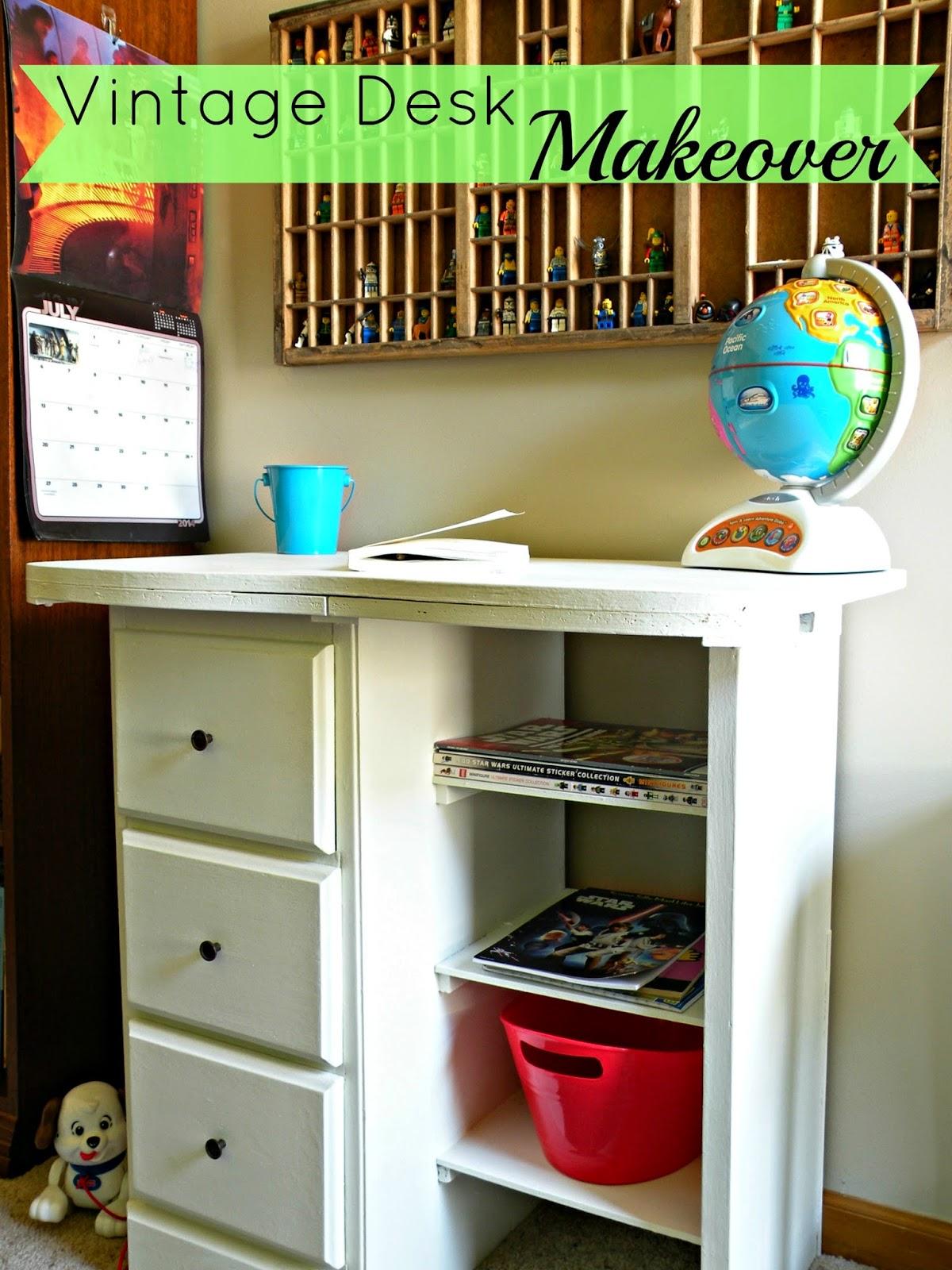 Vintage kids desk makeover - white desk