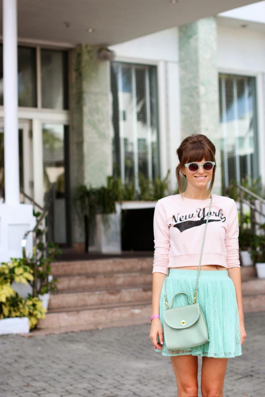 mint green skirt, new york sweater, miami fashion blogger