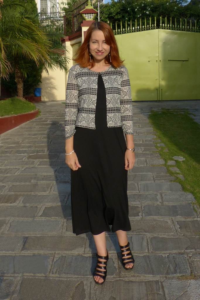 Local Style Black Dress Look 2 With A Cropped Cardigan