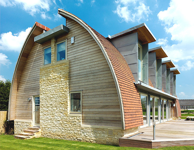 Innovative ideas modern curves prefabricated wooden roof for Curved roof house plans