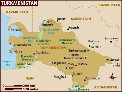 Turkmenistan Map Political Regional