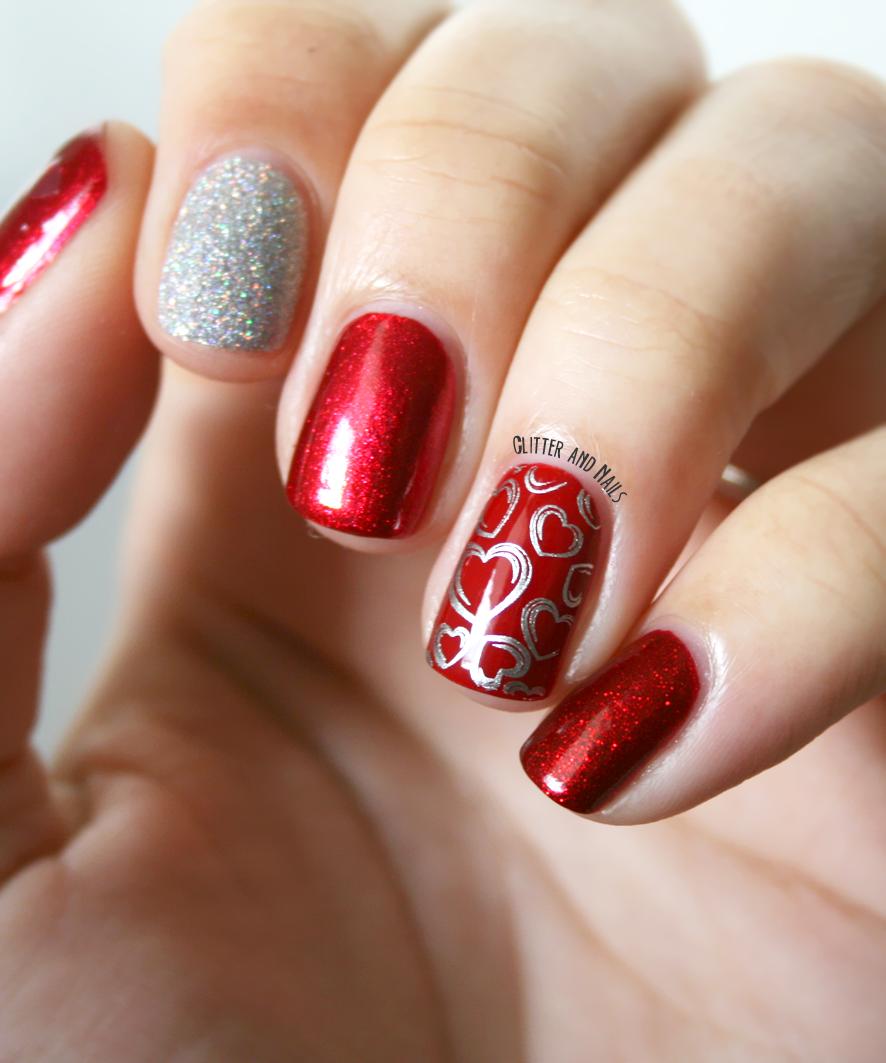 Glitter and nails mix 39 n 39 match de st valentin for Decoracion unas shellac