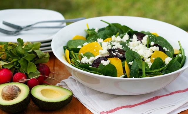 Baby Spinach, Golden Beet and Feta Salad