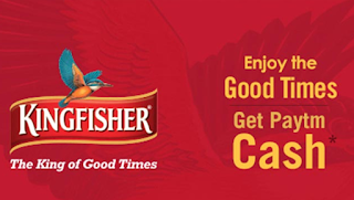 Free Rs.20 Paytm Wallet Cash on Purchasing of Kingfisher Pack