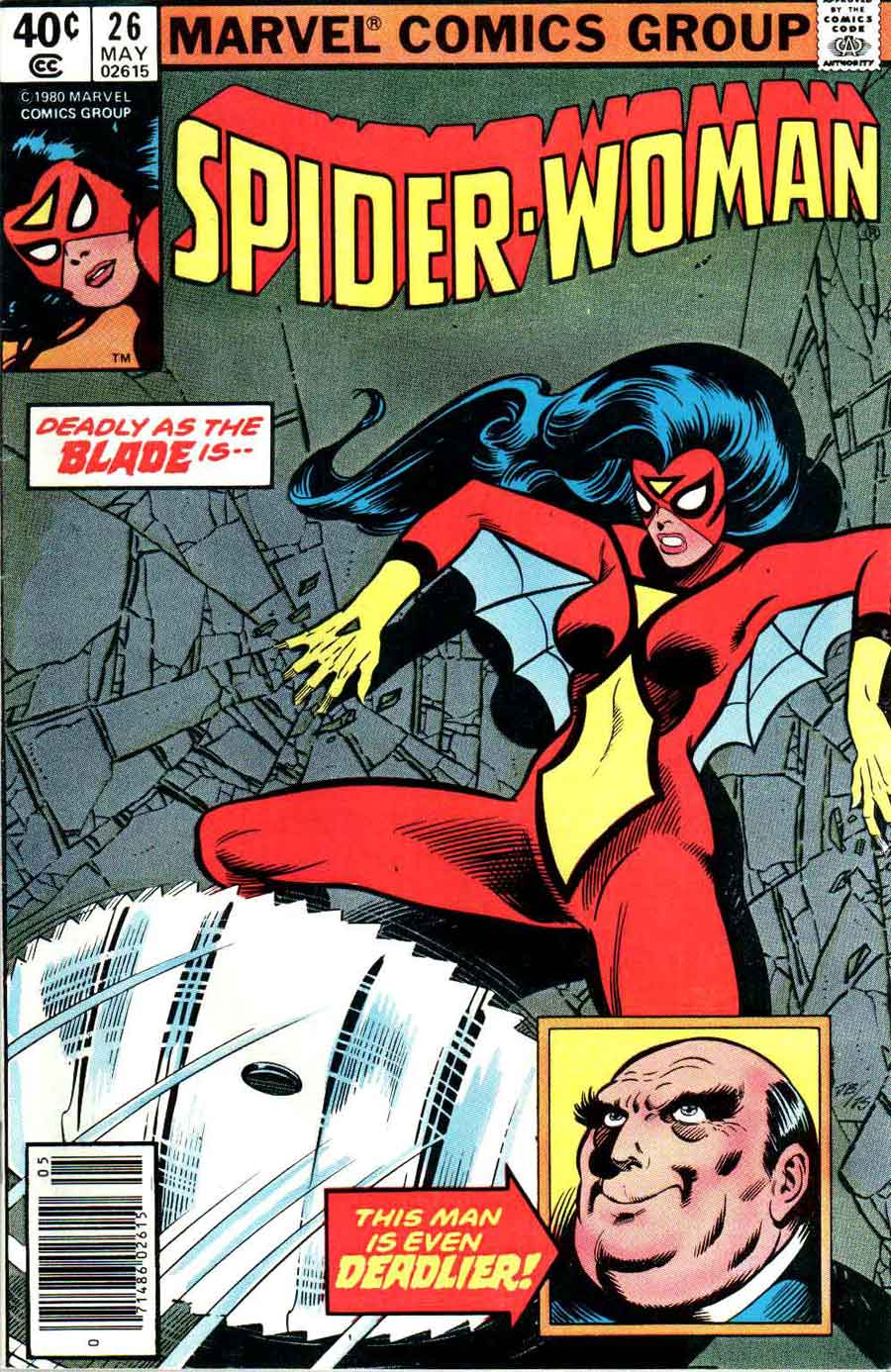 Spider-woman #26, 1980 - An awkwardly posed super-heroine braces herself ...