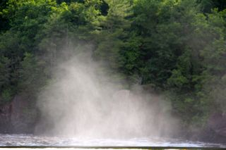 photo of spray over the St. Croix River at St. Croix Falls