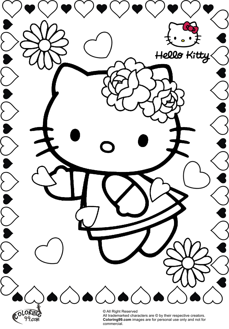 hello kitty flower valentine coloring pages