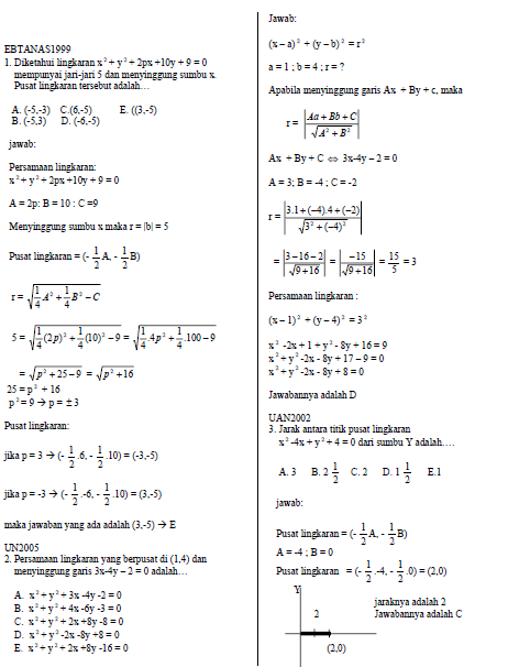 Kumpulan Soal Persamaan Lingkaran
