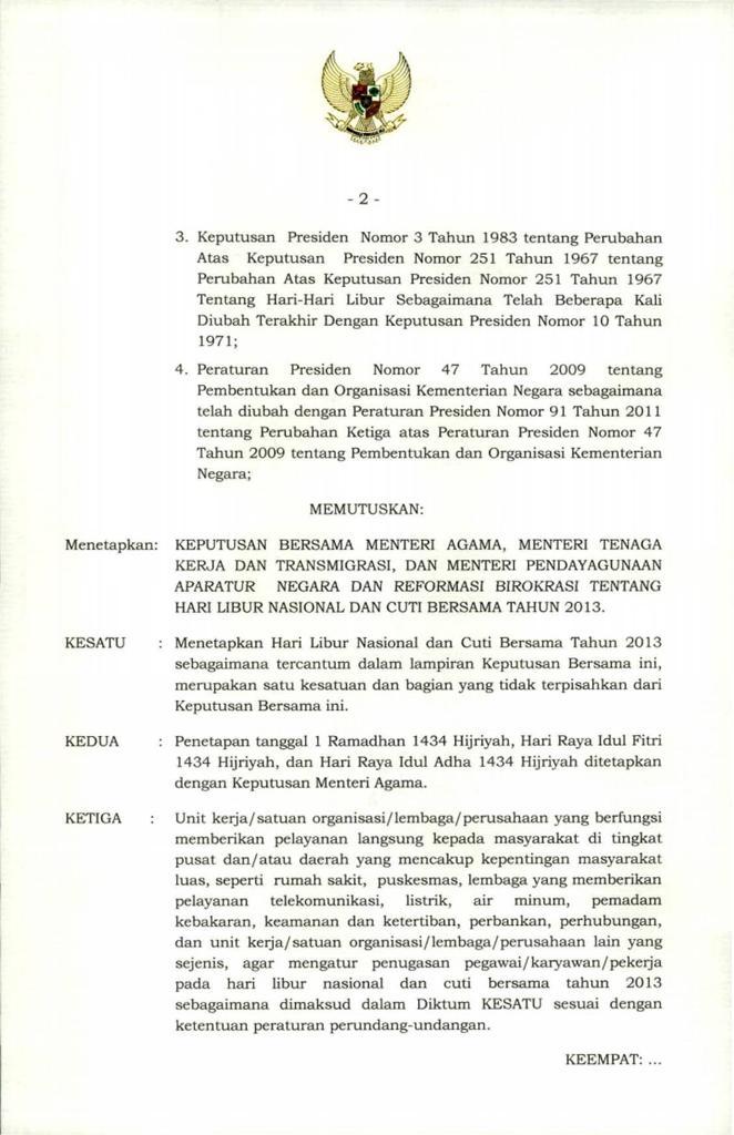 ini surat keputusan Hari Libur Nasional dan Cuti Bersama Tahun 2013