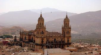 La Catedral de Jaén , con los olivares al fondo.