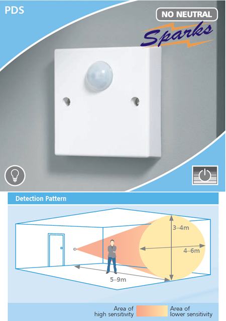 CP Electronics PDS Wall Mounted PIR Detector, No Neutral