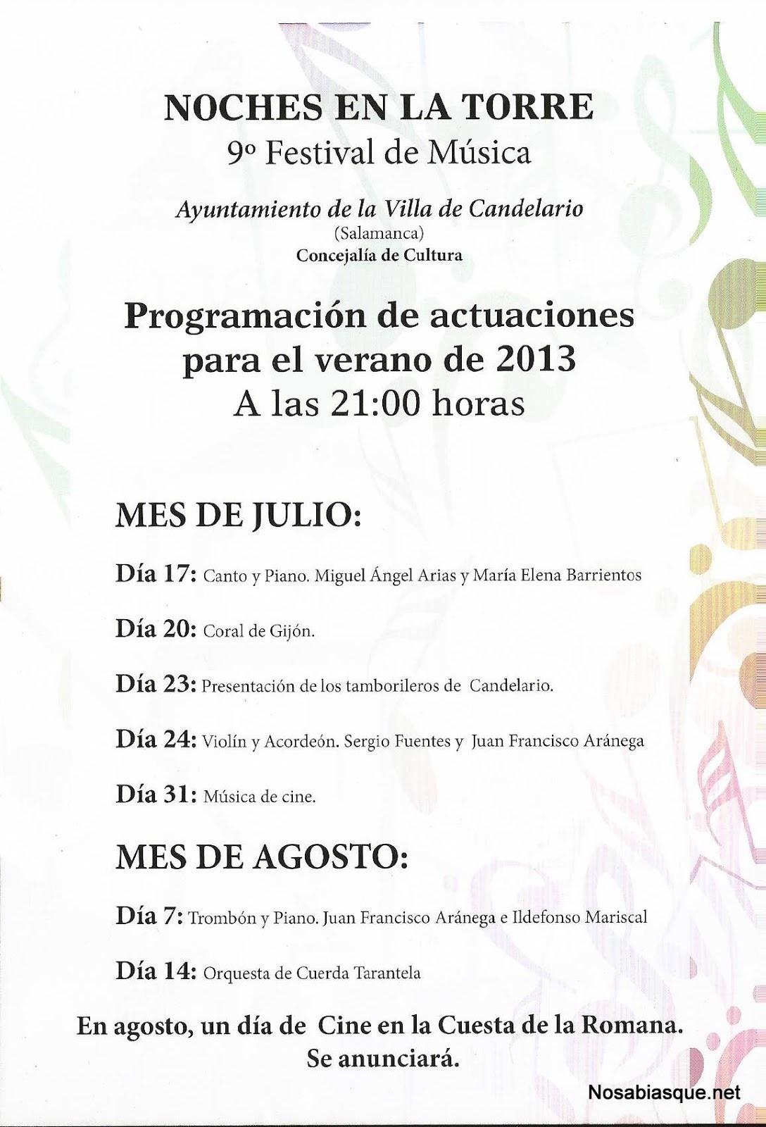 Programación de las Noches de la Torre de Candelario Salamanca 2013