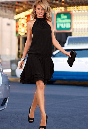 Black sleeveless turtleneck dress