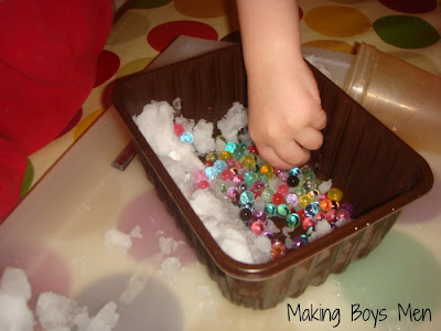 water beads in snow