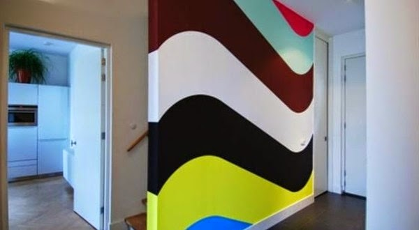 modern wall painting ideas colored streamlined lined - Wall Paint Design Ideas