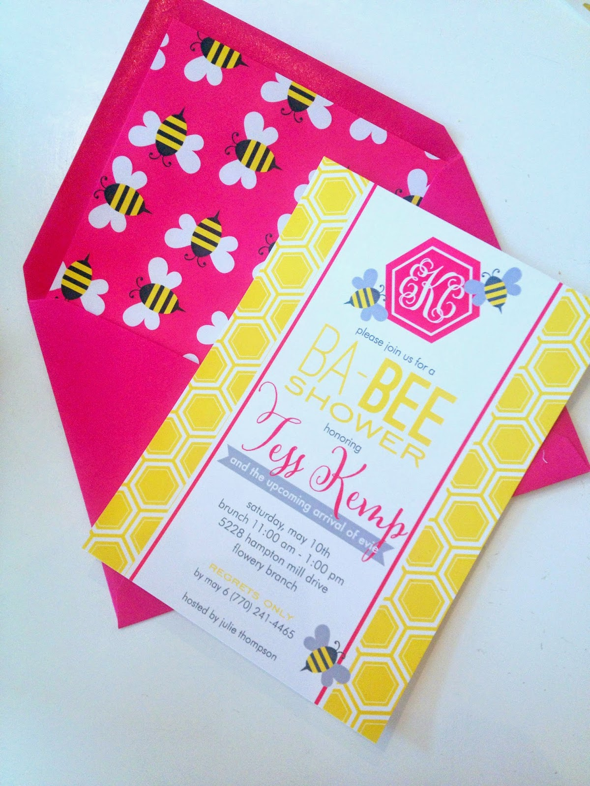 Bee Themed Baby Shower Invitation