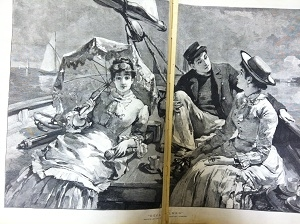 Newspaper illustration of party becalmed in a boat