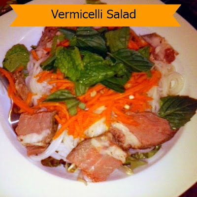 Vermicelli Salad:  This fresh salad uses leftover prime rib, rice noodles, and crisp lettuce and sprouts.  A great light and nutritious dinner.